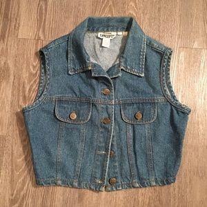 🌿 Vintage 90s crop top denim vest cute hipster